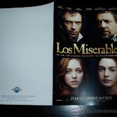 Cine: LOS MISERABLES. GUIA PUBLICITARIA DOBLE. ORIGINAL.MAGNIFICO ESTADO.NUEVO.. Lote 277189728