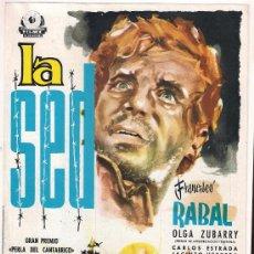Cine: G4463 LA SED FRANCISCO RABAL LUCAS DEMARE CARLOS ESTRADA GUIA ORIGINAL IRIS ESTRENO. Lote 36595353