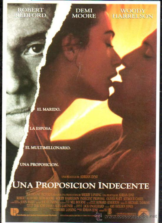 GUIA PUBLICITARIA DE LA PELICULA UNA PROPOSICION INDECENTE. (Cine - Guías Publicitarias de Películas )