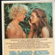 Cine: GUIA PUBLICITARIA DE LA PELICULA EL LAGO AZUL.. Lote 36979336