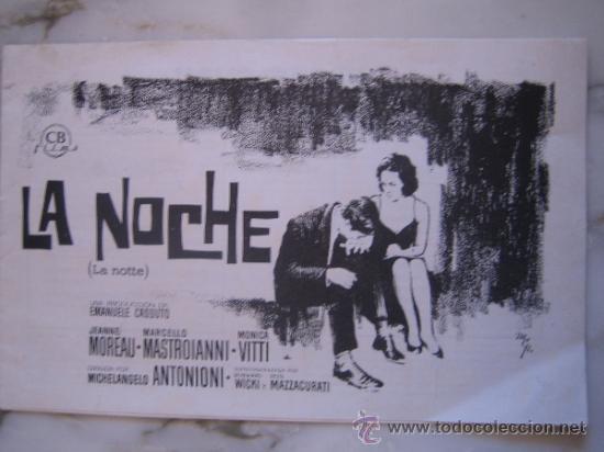 LA NOCHE ANTONIONI MASTROIANNI JEANNE MOREAU MONICA VITTI - GUIA PUBLICITARIA ORIGINAL ESTRENO (Cine - Guías Publicitarias de Películas )