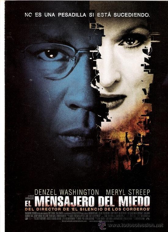 EL MENSAJERO DEL MIEDO GUIA ORIGINAL DOBLE DEL ESTRENO DE LA PELICULA DENZEL WASHINGTON-MERYL STREEP (Cine - Guías Publicitarias de Películas )