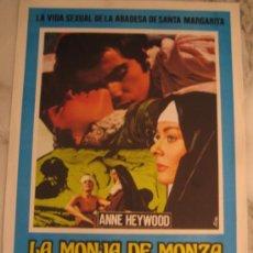 Cine: LA MONJA DE MONZA ANTONIO SABATO HARDY KRUGER - GUIA PUBLICITARIA ORIGINAL ESTRENO. Lote 37444302