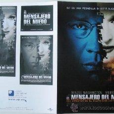 Cine: EL MENSAJERO DEL MIEDO - GUIA ORIGINAL ESTRENO - DENZEL WASHINGTON - MERYL STREEP. Lote 37715579