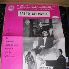 Cine: FALSO CULPABLE HENRY FONDA , VERA MILES ,DIRECT.ALFRED HITCHCOCK HOJA Nº 105 EXCLUSIVAS FLORALVA . Lote 37895269