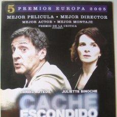 Cine: CACHÉ - ESCONDIDO- GUÍA ORIGINAL DEL ESTRENO - MICHAEL HANEKE - DANIEL AUTEUIL - JULIETTE BINOCHE. Lote 37957598