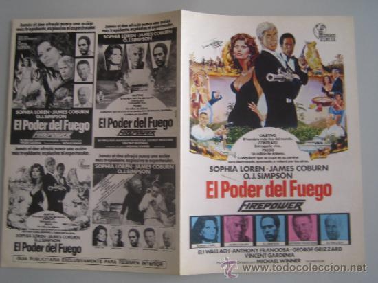 EL PODER DEL FUEGO SOFIA LOREN - GUIA PUBLICITARIA ORIGINAL ESTRENO (Cine - Guías Publicitarias de Películas )