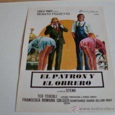 Cine: EL PATRON Y EL OBRERO - RENATO POZZETTO - GUIA ORIGINAL AÑO1976. Lote 38312218