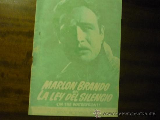 GUIA LA LEY DEL SILENCIO .-MARLON BRANDO (Cine - Guías Publicitarias de Películas )