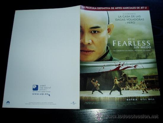 FEARLESS. SIN MIEDO. GUIA PUBLICITARIA DOBLE. ORIGINAL. NUEVO. (Cine - Guías Publicitarias de Películas )