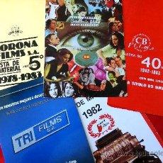 Cine: (10 LISTAS DE MATERIAL CINEMATOGRAFICO) TOLERATUS FILMS,.CB FILMS,CORONA FILMS ECT,ECT.. Lote 39171390
