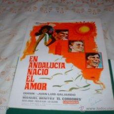Cine: GUÍA DE LA PELÍCULA EN ANDALUCÍA NACIÓ EL AMOR, POR ROCÍO JURADO, JUAN LUIS GALIARDO Y EL CORDOBÉS. Lote 39488703