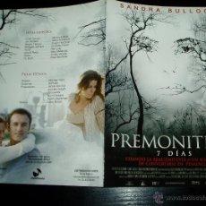Cine: PREMONITION 7 DÍAS. GUIA PUBLICITARIA DOBLE . ORIGINAL.MAGNIFICO ESTADO.NUEVO.. Lote 277191353