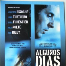 Cine: ALGUNOS DIAS DE SEPTIEMBRE - GUIA ORIGINAL ESTRENO - JULIETTE BINOCHE, JOHN TURTURRO,SARA FORESTIER. Lote 39754585