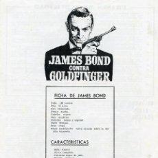 Cine: GOLDFINGER 1964 (GUIA ORIGINAL 4 PAGINAS DE SU ESTRENO EN ESPAÑA) SEAN CONNERY JAMES BOND 007. Lote 39942148