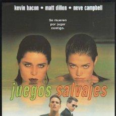 Cine: GUIA PUBLICITARIA DE CINE DE LA PELICULA JUEGOS SALVAJES. KEVIN BACON, MATT DILLON. Lote 40213294