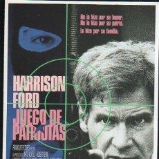 Cine: GUIA PUBLICITARIA DE CINE DE LA PELICULA JUEGO DE PATRIOTAS. HARRISON FORD. Lote 40213298