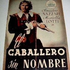 Cine: EL CABALLERO SIN NOMBRE - GUIA DE ESTA PELICULA PRESENTADAS POR CIFESA . AÑOS 50 - MUCHAS FOTOGRAFIA. Lote 38241057