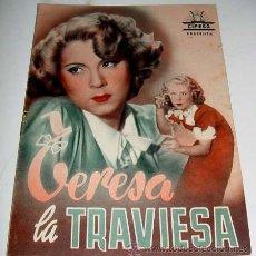 Cine: TERESA LA TRAVIESA - GUIA DE ESTA PELICULA PRESENTADA POR CIFESA . AÑOS 50 - MUCHAS FOTOGRAFIAS, CON. Lote 38241058