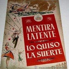 Cine: MENTIRA LATENTE Y LO QUISO LA SUERTE - GUIAS DE ESTAS 2 PELICULAS PRESENTADAS POR CIFESA - AÑOS 50 -. Lote 38241061