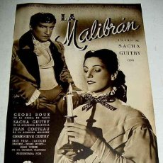 Cine: ANTIGUA GUIA DE CINE DE LA PELICULA LA MALIBRAN - FILM DE SACHA GUITRI, CON GEORI BOUE, JEAN COCTEAU. Lote 38249831