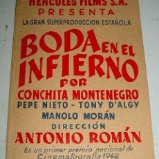 Cine: GUIA DE LA PELÍCULA BODA EN EL INFIERNO. ( HERCULES FILMS S.A.) - AÑO 1942 - MADRID 1942 - ED. POR R. Lote 38262877