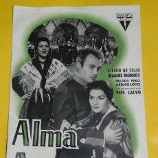 Cine: ANTIGUA GUIA DEL FILM ALMA ARAGONESA , CON LILIAN DE CELIS Y MANUEL MONROY, GUIA 4 HOJAS AL DESPLEGA. Lote 38280214