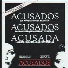 Cine: GUIA PUBLICITARIA DE CINE DE LA PELICULA ACUSADOS. KELLY MCGILLIS, JODIE FOSTER. Lote 40313400