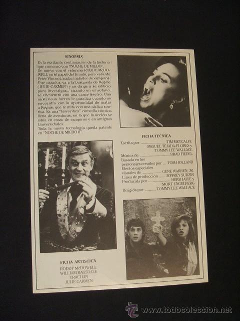 Cine: GUIA PUBLICITARIA DE LA PELICULA NOCHE DE MIEDO, PARTE 2 - - Foto 2 - 40477643