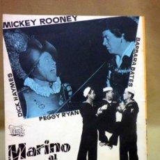 Cine: CARTEL DE CINE, MARINO AL AGUA, MICKEY ROONEY, EOS FILM, DOBLE, 29 X 23 CM. Lote 40571502