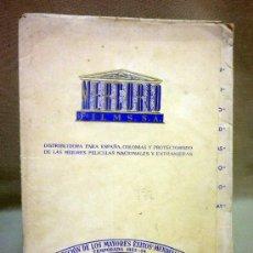 Cine: CARPETA VACIA, MERCURIO FILMS, TEMPORADA 1953-54, 32 X 25 CM. Lote 40584580