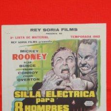 Cine: SILLA ELÉCTRICA PARA 8 HOMBRES, 3ª LISTA DE MATERIAL REY SORIA, DE LA PIEL DEL DIABLO, RARA 1962. Lote 41248788