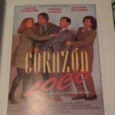 Cine: 'CORAZÓN LOCO', CON JUANJO PUIGCORBÉ. GUÍA DE CINE.. Lote 41280701