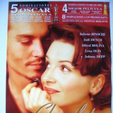 Cine: CHOCOLAT - GUIA ORIGINAL ESTRENO - JULIETTE BINOCHE - JOHNNY DEPP. Lote 42328579
