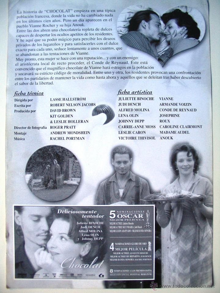 Cine: Chocolat - Guia original estreno - Juliette Binoche - Johnny Depp - Foto 2 - 42328579