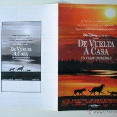 Cine: DE VUELTA A CASA - GUIA ORIGINAL ESTRENO - WALT DISNEY. Lote 42351617