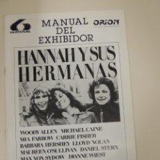 Cinema: HANNAH Y SUS HERMANAS - GUIA PUBLICITARIA - WOODY ALLEN MIA FARROW MICHAEL CAINE MAX VON SYDOW. Lote 42391975