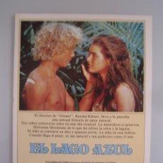 Cine: EL LAGO AZUL GUIA PUBLICITARIA ORIGINAL ESTRENO. Lote 42747036