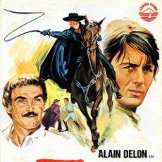 Cine: EL ZORRO (GUIA ORIGINAL DE SU ESTRENO EN ESPAÑA) ALAIN DELON - OTTAVIA PICCOLO - STANLEY BAKER. Lote 128389248