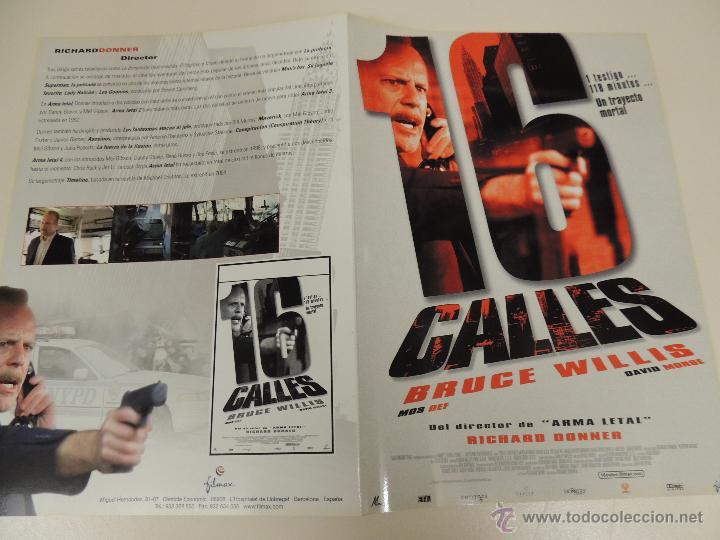 16 CALLES - GUIA ORIGINAL - BRUCE WILLIS DAVID MORSE RICHARD DONNER - LOTE 20 GUIAS 30 EUROS (Cine - Guías Publicitarias de Películas )