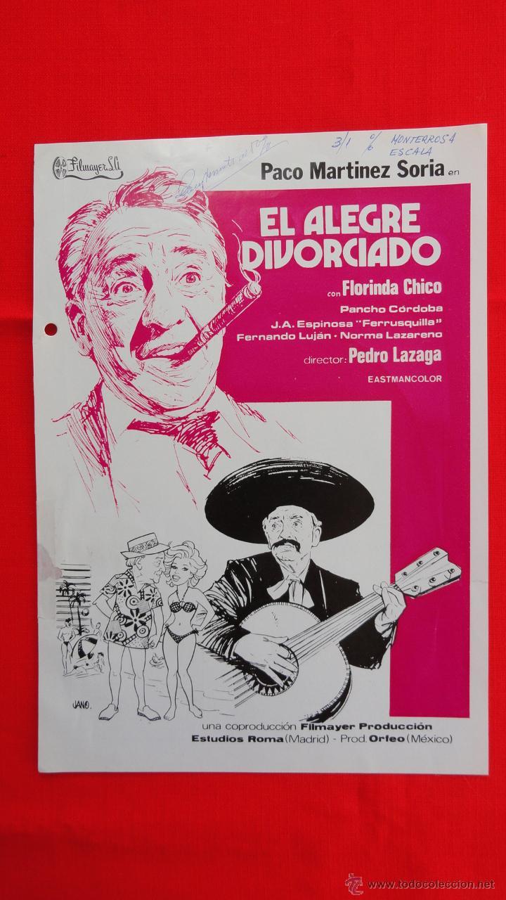 EL ALEGRE DIVORCIADO, GUÍA A DOS COLORES, PACO MARTÍNEZ SORIA, JANO (Cine - Guías Publicitarias de Películas )