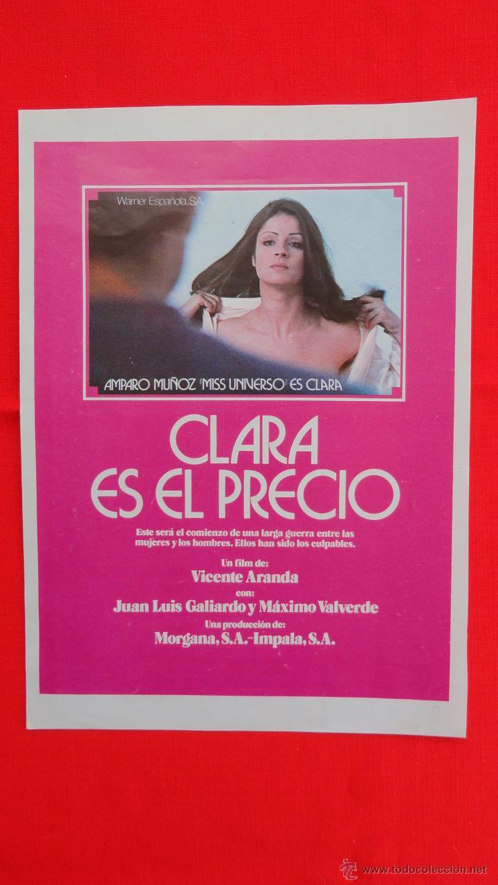 CLARA ES EL PRECIO, AMPARO MUÑOZ MISS UNIVERSO, GUÍA SENCILLA 1975, EXCTE. ESTADO (Cine - Guías Publicitarias de Películas )