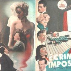 Cine: GUIA PUBLICITARIA DE CINE. ¿CRIMEN IMPOSIBLE?. CIFESA. PRODUCCION CINESOL. VER FOTO. Lote 43638690
