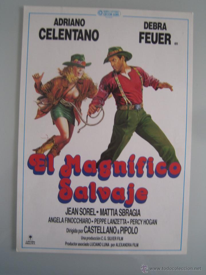 EL MAGNIFICO SALVAJE - ADRIANO CELENTANO DEBRA FEUER GUIA PUBLICITARIA ORIGINAL ESTRENO (Cine - Guías Publicitarias de Películas )