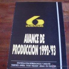 Cine: LISTA DE MATERIAL DE LAUREN FILMS AVANCE AÑO 1992/93. Lote 44415707