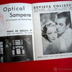 Cine: REVISTA COLISEUM - 1936 - DESEO - MARLENE DIETRICH. Lote 44930145