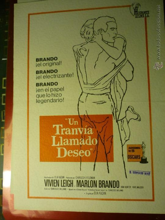 GUIA DOBLE UN TRANVIA LLAMADO DESEO .-MARLON BRANDO--BB (Cine - Guías Publicitarias de Películas )