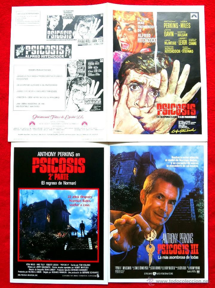 PSICOSIS TRILOGÍA 3 GUÍAS ORIGINALES ALFRED HITCHCOCK - ANTHONY PERKINS - JANET LEIGH (Cine - Guías Publicitarias de Películas )