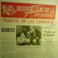 Cine: GUIA DOBLE FRANCIS EN LAS CARRERAS.- DONALD O´CONNOR .--BB. Lote 45400761