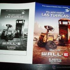 Cine: WALL.E. BATALLON DE LIMPIEZA.GUÍA PUBLICITARIA DOBLE ORIGINAL DE LA PELÍCULA. NUEVO.MAGNIFICO ESTAD.. Lote 277187343